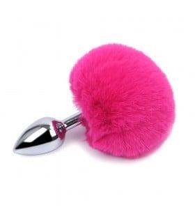 Металлическая анальная пробка с хвостиком зайки pink S - No Taboo