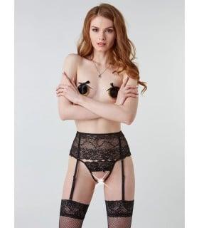 Пояс для чулок эротический, черный, сзади со шнуровкой, S/M - No Taboo