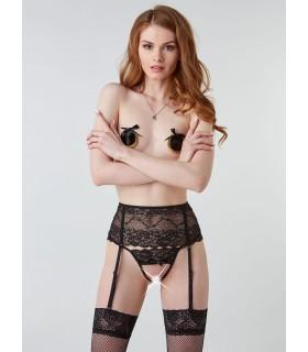 Пояс для панчіх еротичний, чорний, ззаду зі шнурівкою, S/M - No Taboo
