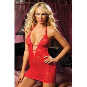 Ажурное платье с глубоким декольте, красное, One Size (10403), zoom