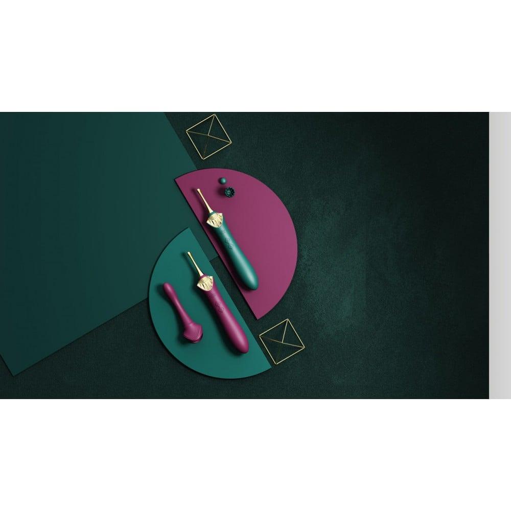 Вибратор двухсторонний универсальный Zalo Bess с насадками, зеленый (41722)