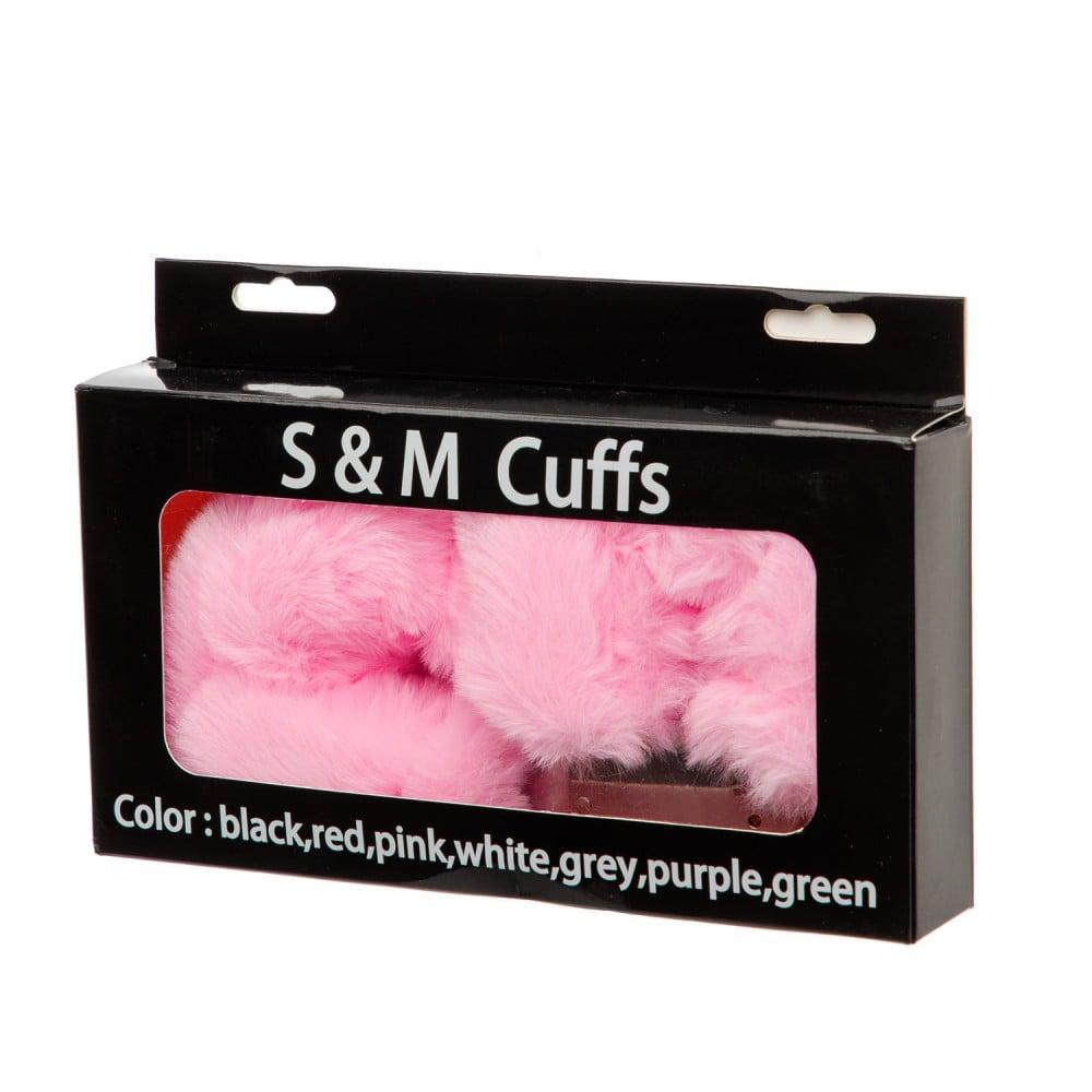 Металеві наручники з м'яким хутром S&M CuffS, яскраво-рожеві NO TABOO (32879)