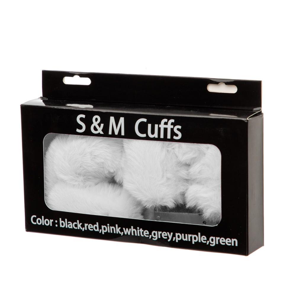 Металлические наручники S&M CuffS с мягким мехом, серые NO TABOO (32828)