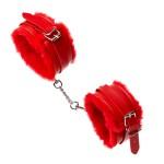 Поножи из экокожи с мехом, красные, размер L