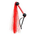 Плетка (флоггер) силиконовая, красная, прозрачная ручка