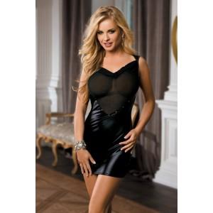 Сукня вінілова чорна з сіткою на грудях (One size) (33509), zoom
