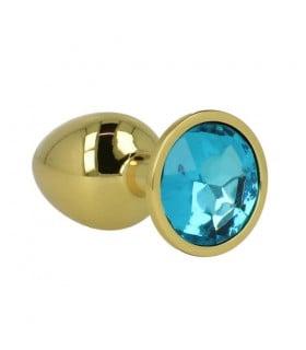 Анальна пробка з круглим каменем, металева, золотиста - No Taboo