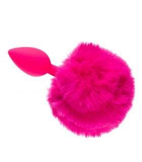 Анальная пробка силикон с хвостиком зайки, pink S - No Taboo