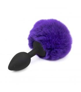 Анальная силиконовая пробка с хвостом зайки purple S - No Taboo
