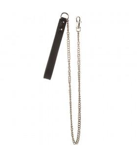 Поводок для ошейника кожаный с металлической цепью NO TABOO - No Taboo