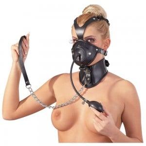 Leather Head Mask-Маска з кляпом і нашийником (2611), zoom