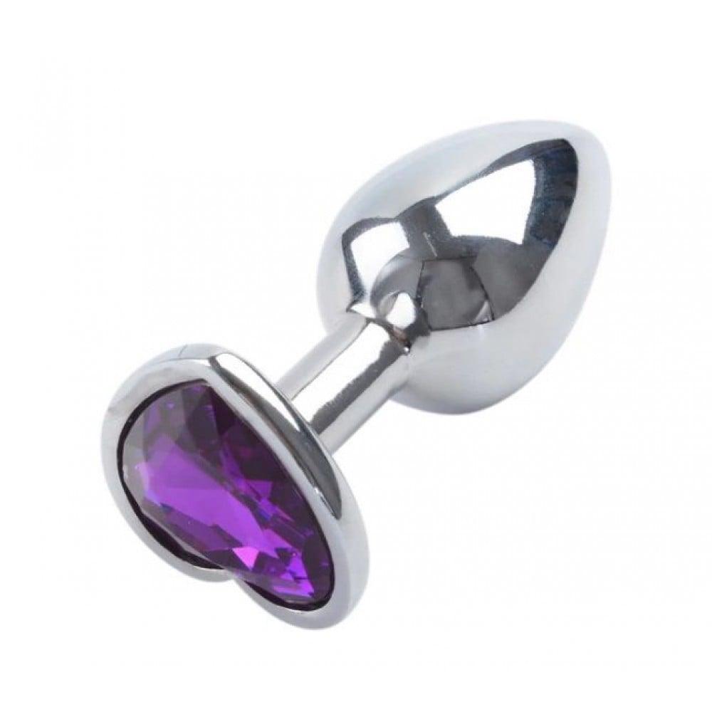 Анальная металлическая пробка с фиолетовым камнем в форме сердца M 8,5x3,5 (31611)