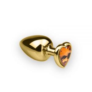 Анальная пробка с камнем в форме сердца Gold, L, 9x4см (32479), zoom
