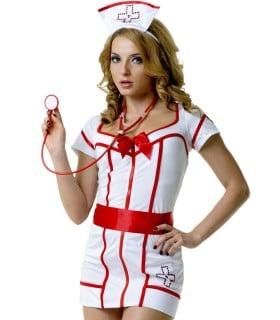 Костюм медсестры белый халат на молнии 5 предметов LeFrivole S\M - No Taboo
