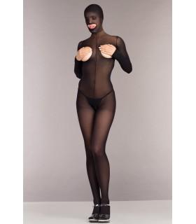 Комбінезон на все тіло з відкритою спиною, і інтимними вирізами, чорний, розмір One Size - No Taboo
