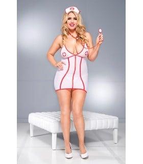 Костюм медсестры сексуальный, 3 предмета, размер Queen Size (46 - 52) - No Taboo