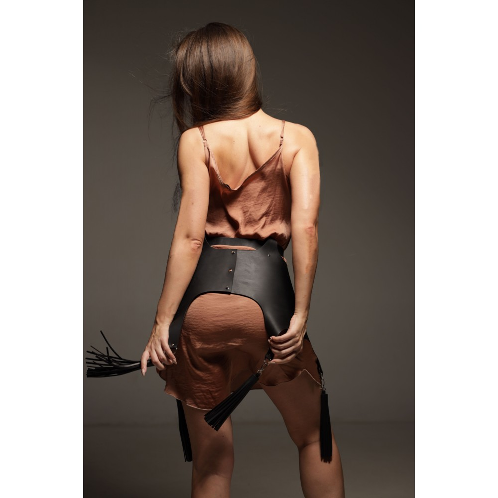 Баска из кожи, ручная работа, 42-44 размер, черная (39681)