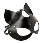 Маска кошки БДСМ, плотная, черная, из глянцевой кожи NO TABOO
