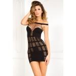 Платье-сетка сексуальное, черное, S/M