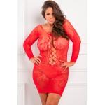 Платье-сетка с длинным рукавом, с цветочным узором, красное, XL/2XL