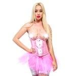 Корсет под грудь эротический, атласный розовый, размер S
