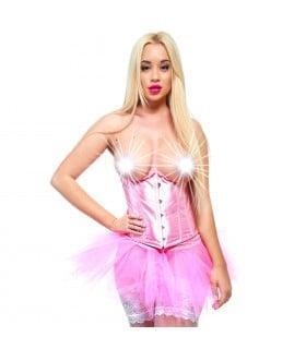 Корсет под грудь эротический, атласный розовый, размер L - No Taboo