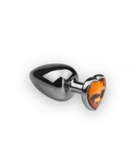 Анальная металлическая пробка с камнем в форме сердца Silver Citrine, L - No Taboo