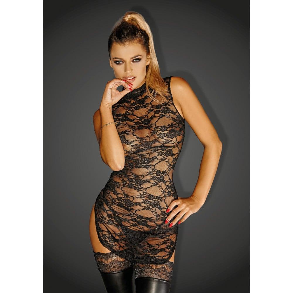 Платье эротическое из гипюра черное Noir Handmade M (37376)
