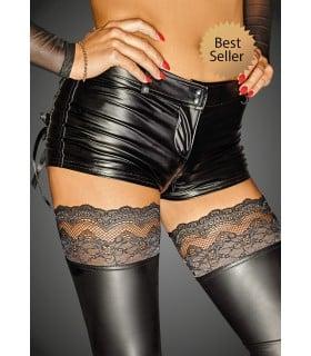Шорты виниловые сексуальные черного цвета Noir Handmade, размер S - No Taboo