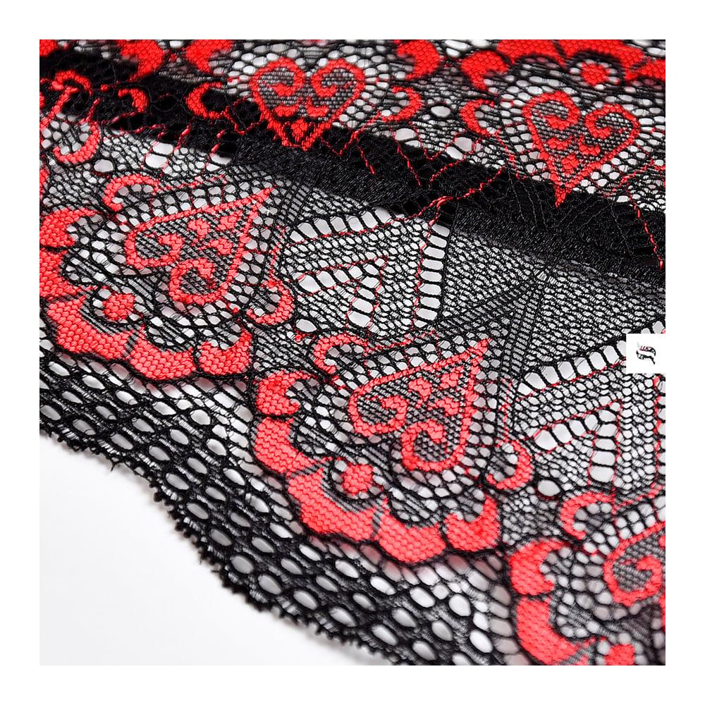 Боди эротический черный с красной вышивкой L/XL (37412)