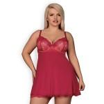 Сорочка сексуальна з мереживним верхом, червоного кольору, XXL
