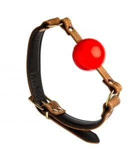Кляп из коричневой итальянской кожи, с красным шариком, ручная работа, Голландия - No Taboo