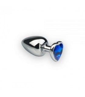 Анальная пробка с камнем в форме сердца Silver L Dark Blue - No Taboo