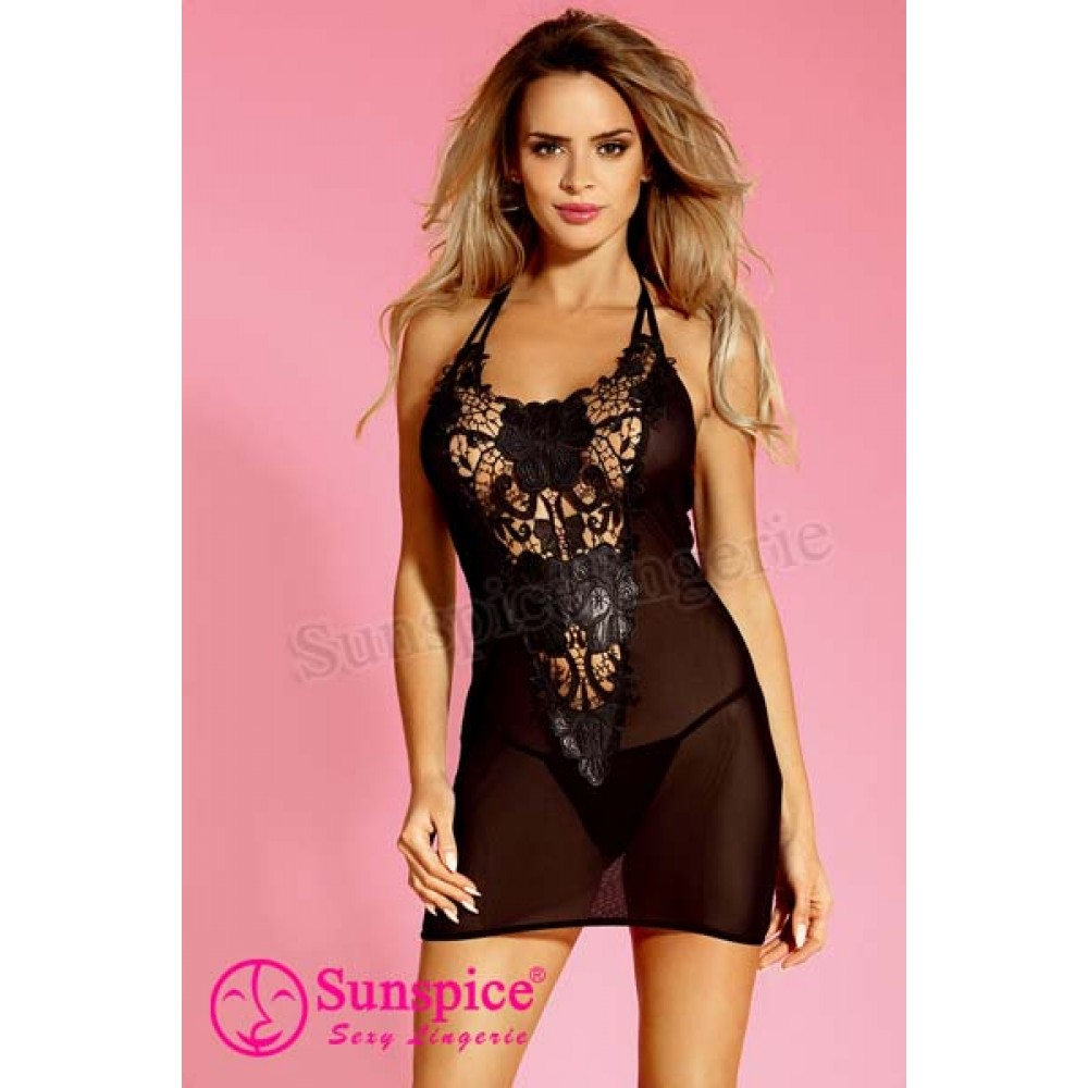 Сукня сексуальна чорна з ажурним декольте (One size) (33527)
