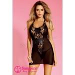 Платье сексуальное черное с ажурным декольте O/S