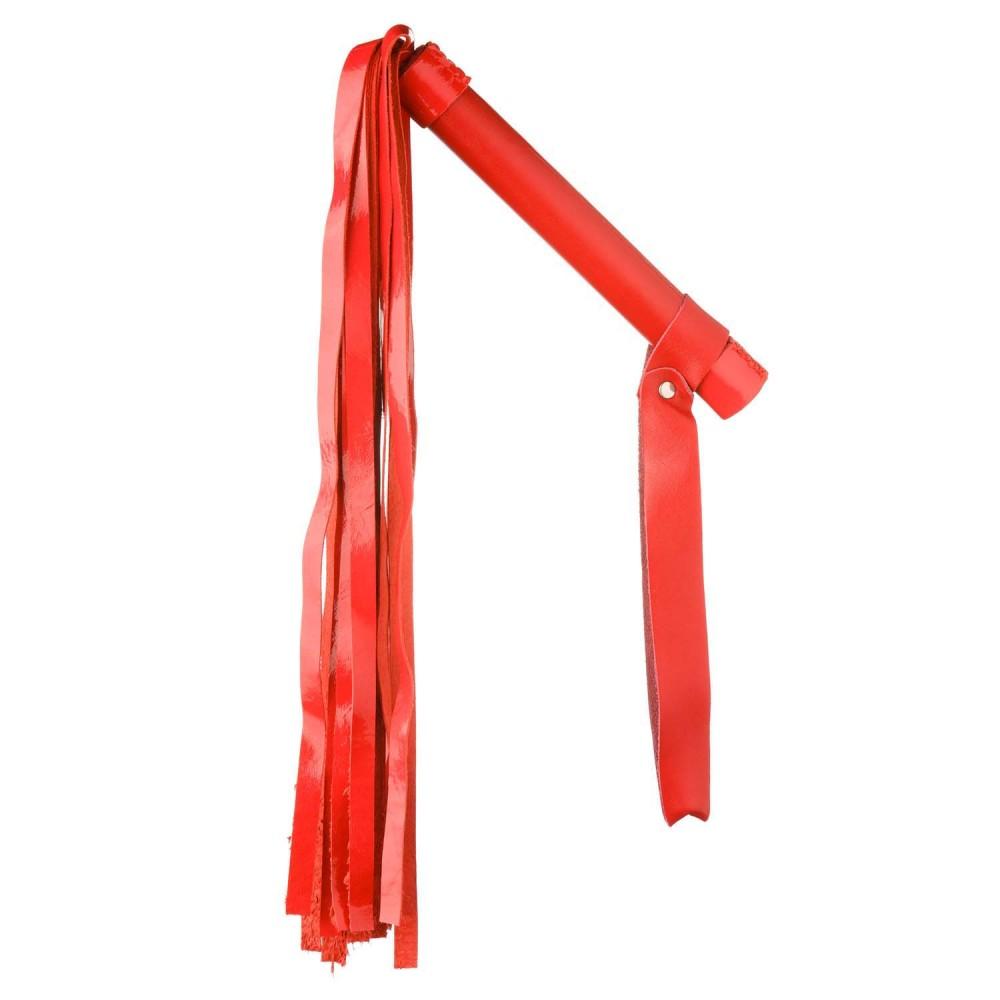Флоггер (плетка) без заклепок, с лаковой лапшой, красный, NO TABOO (31900)