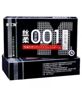 Презервативы латекс 0.01 мм 10шт, цена за уп больше смазки черная упаковка - No Taboo