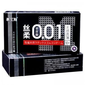 Презервативи ультратонкі латекс 0.01 мм 10шт, Ціна за уп більше мастила чорна упаковка (32623), zoom