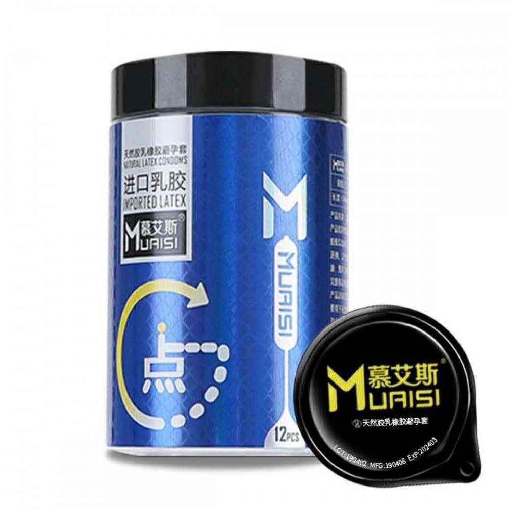 Презервативы ультратонкие латексные с пупырышками и повышенным количеством смазки 0.02 мм цена за 1шт синяя упаковка (37007)