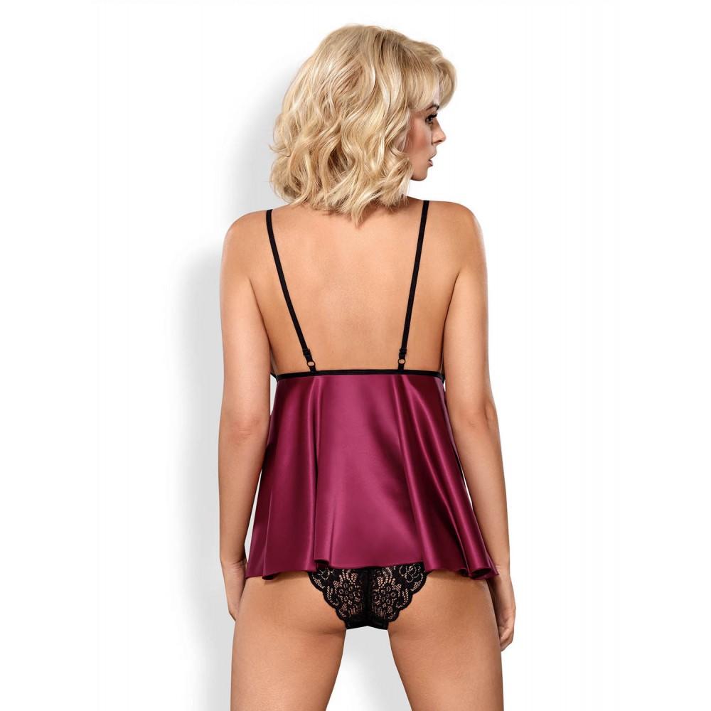 Сексуальная атласная бордовая сорочка Babydoll S/M (30835), фото 2