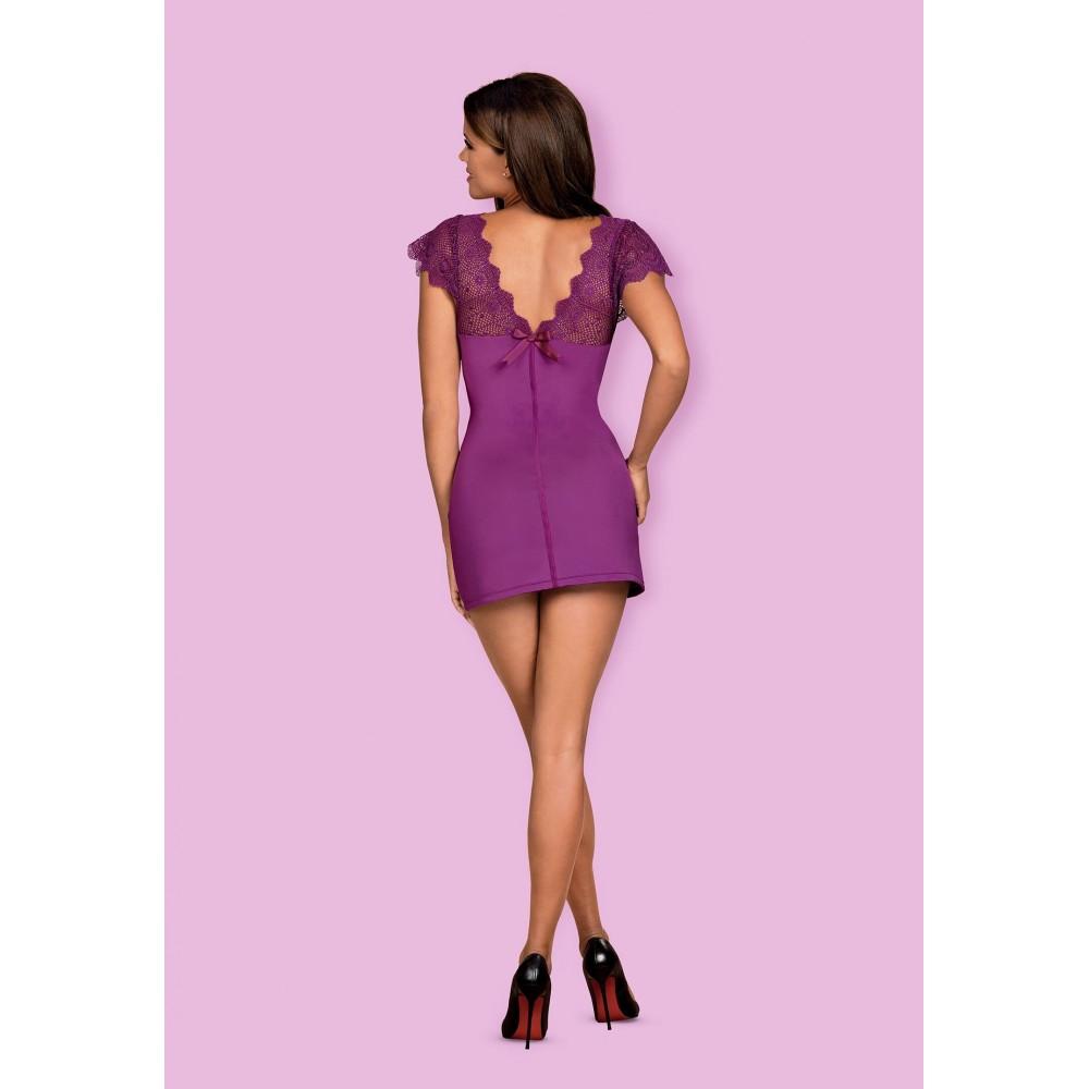 Платье сексуальное с кружевом, фиолетовое, L/XL (39242)