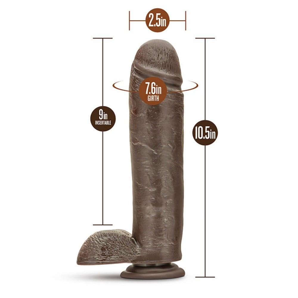 Фалоімітатор реалістик великий, на присоску, brown, 22,8 см (33751)