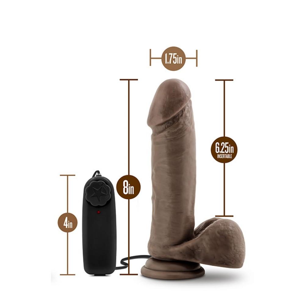 Вібратор з ротацією на пульті управління, коричневий, 16 х 4 см (33553)
