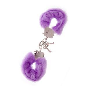 Наручники с пушистым фиолетовым мехом, металл (2120), zoom