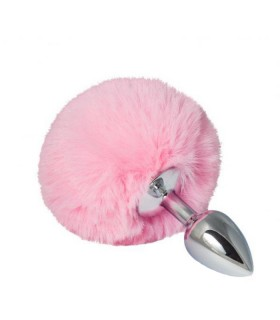 Металлическая анальная пробка с розовым помпоном, металл, S, 14 х 2,8 см - No Taboo