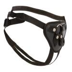 Трусики для страпона с 2 кольцами для крепления (металлическое и силиконовое), черные