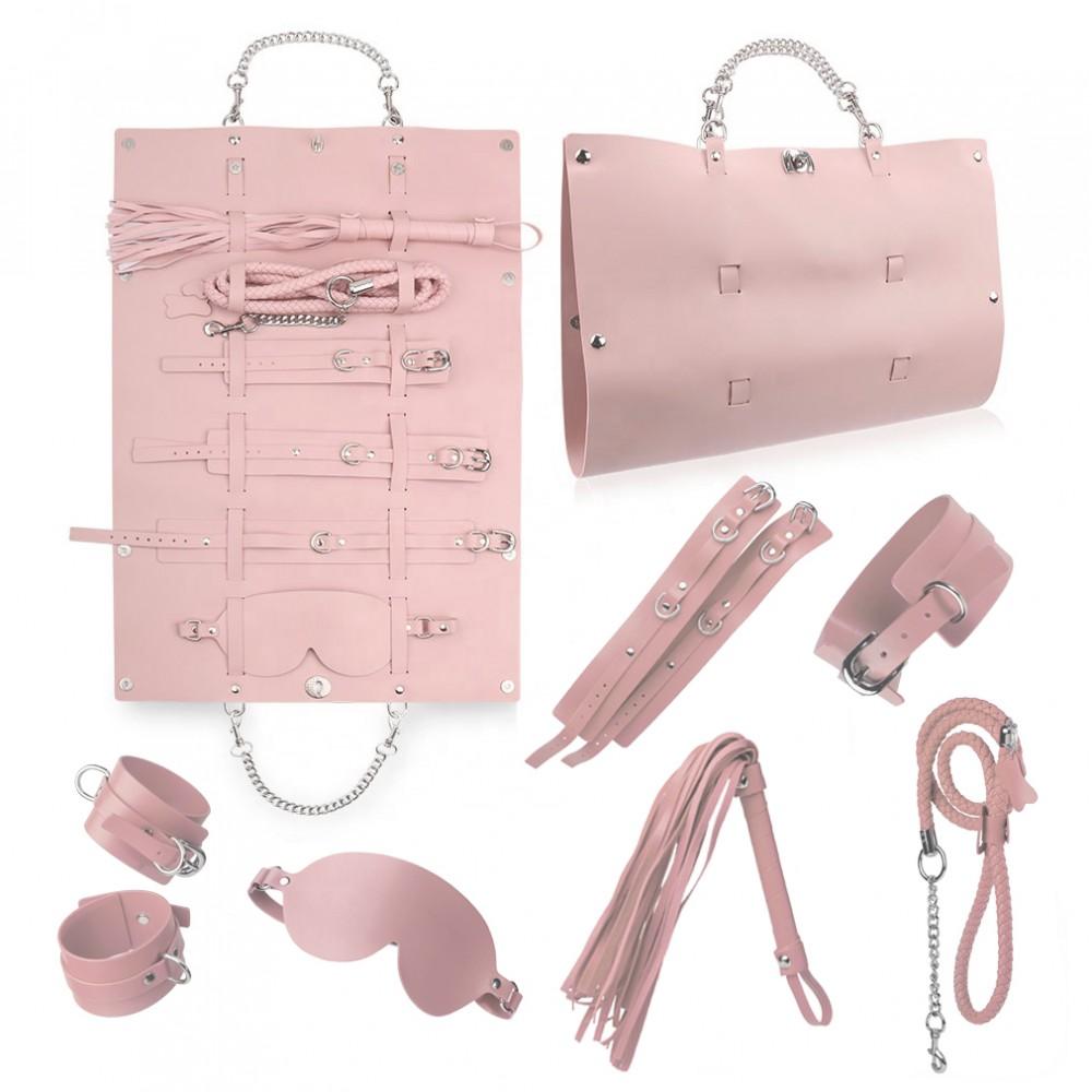 Стильный бондажный набор в сумочке, розовый, замкожа (38233), фото 1 — секс шоп Украина, NO TABOO