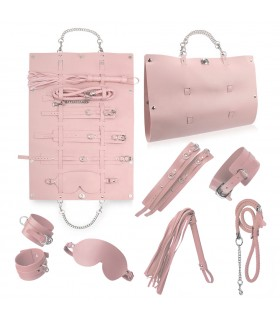 Стильный бондажный набор в сумочке, розовый, замкожа - No Taboo