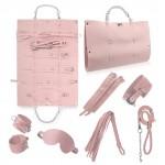 Стильный бондажный набор в сумочке, розовый, замкожа