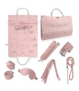Стильний бондажний набір в сумочці, рожевий, замкожа - No Taboo
